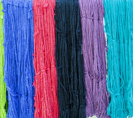 colorful textile in dye process