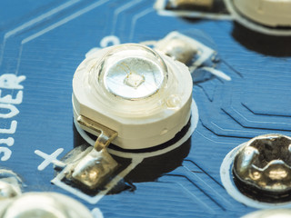 high power LED installed on blue circuit board