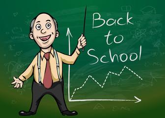 Teacher near blackboard