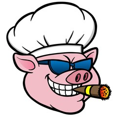 Smoking BBQ Pig