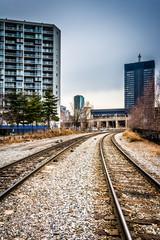 Railroad tracks and buildings in Philadelphia, Pennsylvania.