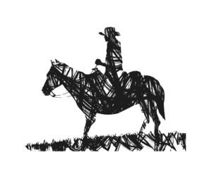 astratto di cowboy su sfondo bianco