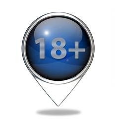 18+ pointer icon on white background