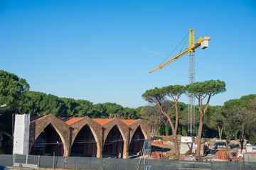 Cantiere edilizio gru, Arsenali Repubblicani, Pisa