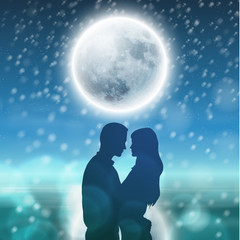 Couple over background with moon and snowflakes