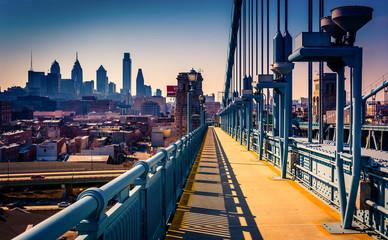 The Ben Franklin Bridge Walkway and skyline, in Philadelphia, Pe