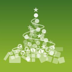 Christmas tree gifts green background