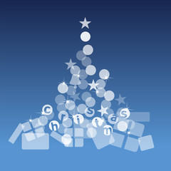 Christmas tree gifts blue background