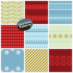 Set of seamless patterns for christmas. Vector illustration.