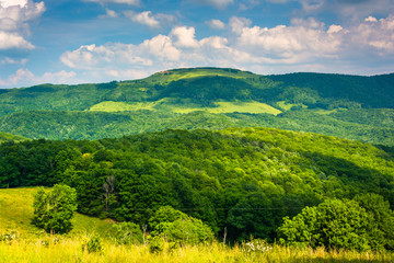 View of hills and mountains in the rural Potomac Highlands of We
