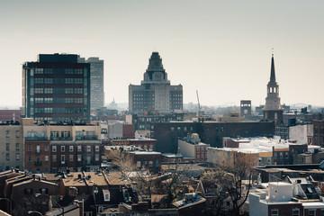 View of Old City from the Ben Franklin Bridge Walkway, in Philad