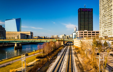 View of railroad tracks along the Schuylkill River in Philadelph