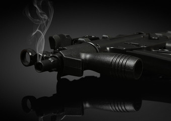gun barrel with smoke