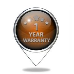 One year warranty pointer icon on white background