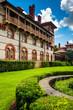 Building and bushes at Flagler College, St. Augustine, Florida.