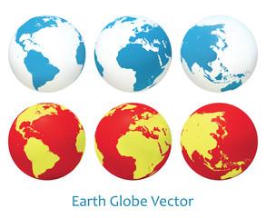 Earth globe set. Vector illustration.