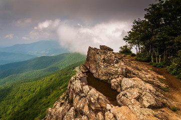 Cloudy spring view from Little Stony Man Cliffs in Shenandoah Na