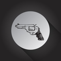 Handgun icon on black background.