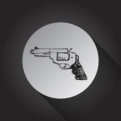 Handgun icon on black background.