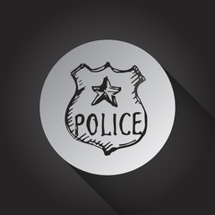 Police badge icon on black background
