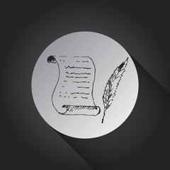 Paper scroll with feather icon on black background.