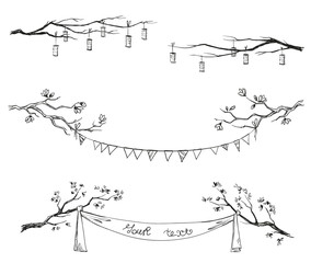 Doodle tree branches. Decorations. Vector