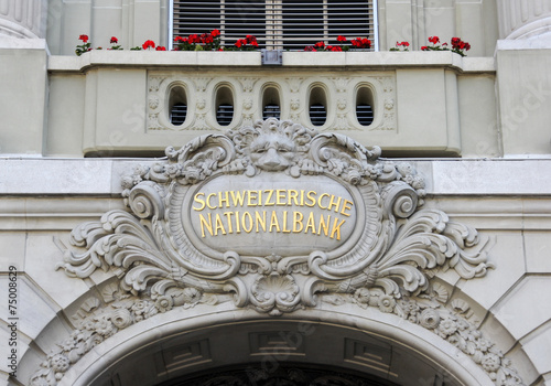 Leinwandbild Motiv Swiss National Bank Entrance Building