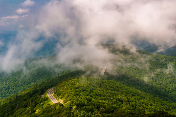 Fog and low clouds over Skyline Drive, seen from Little Stony Ma