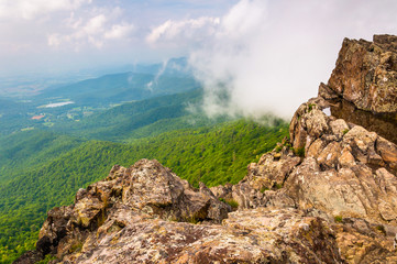 Fog over the Blue Ridge Mountains, seen from Little Stony Man Cl