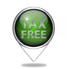 Tax free pointer icon on white background