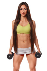 Sexy athletic woman with dumbbells. Fitness girl, Isolated