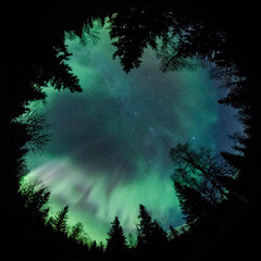 Fisheye of northern lights