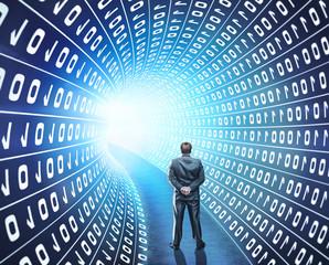 Businessman in hacker world