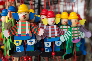 wooden clowns puppet dolls