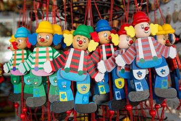 wooden clowns puppet dolls