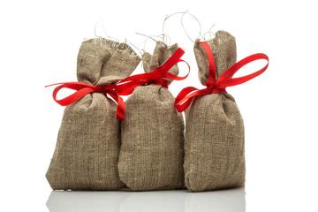 Three small gift sacks