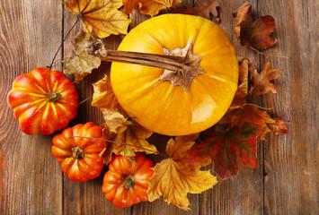Ripe pumpkin on wooden background
