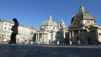 Italy Rome Piazza Popolo time lapse