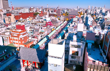 ビルの上から見た浅草寺の風景