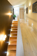 Illuminated stairs in luxury residence