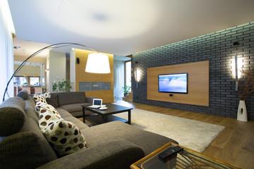 Brick wall in modern interior