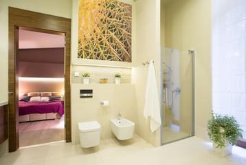 Bathroom open on bedroom