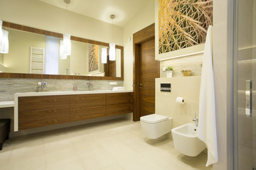 Spacious washroom with wooden furniture