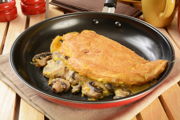 Omelet with swiss cheese and mushrooms
