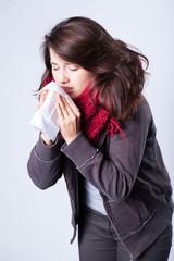 Girl having autumn flu