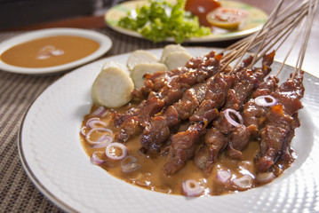 Traditional Sate Madura (Chicken satay from Madura, Indonesia)