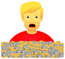 Man shock seeing lots of coins