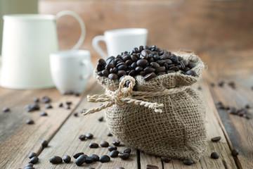 Coffee beans roasted in jute sack