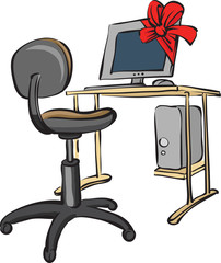 holiday gift computer and desk
