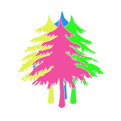 Christmas tree from colorful painted.